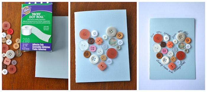 coeur en boutons colorés rangés en forme de coeur sur un bout de papier avec texte d amour original écrit autour