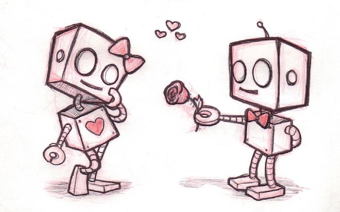 image robot male qui offre une rose à une robot femelle avec noeud de papillon en tete et coeur sur le corps, dessin trop mignon