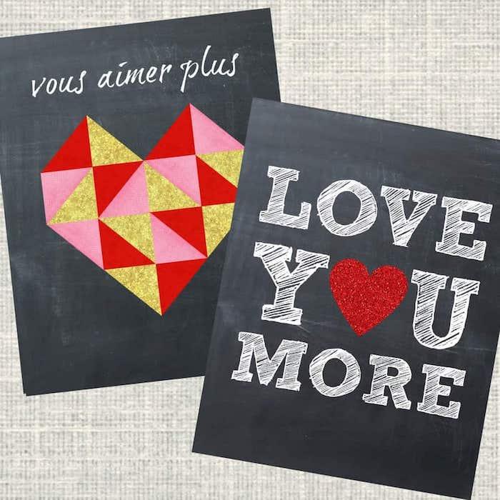 carte peinture à la craie avec coeur coloré et texte d amour écrit dessus, activité saint valentin originale
