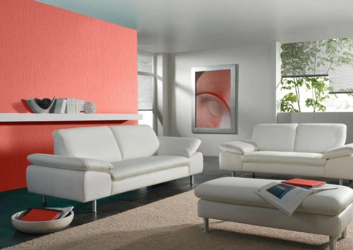 salon en gris et mur rose, sofas gris, tapis beige, banquette gris clair, aménagement salon moderne