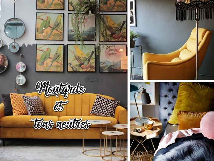 idée deco salon gris dans le style tropical, décoration murale avec objets art, chambre à coucher avec grand lit à tête boutonnée gris anthracite