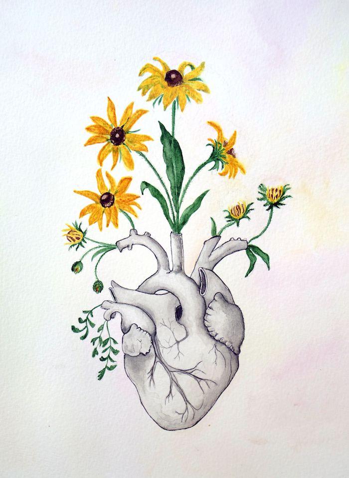 dessin realiste de coeur humain avec des fleurs jaunes qui poussent dessus, fond aquarelle de diverses couelurs