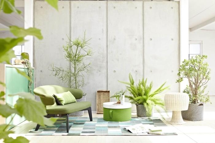design intérieur esprit contemporain avec accents style industriel, idée intérieur gris et vert, déco avec accents de couleur vert
