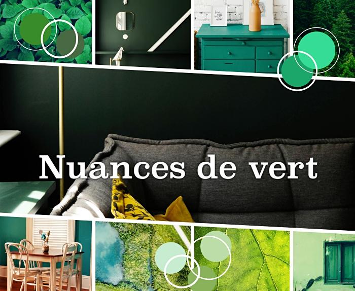 modèle de salle à manger et cuisine verte, peinture murale de nuance vert foncé, idée peinture vert sapin pour salon