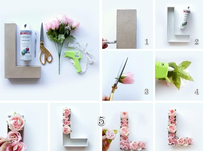 diy projet facile pour 14 février, tutoriel décoration pour la Saint Valentin, fabrication lettre en carton avec roses