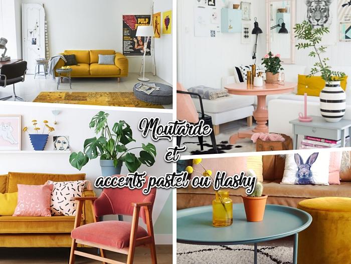 salon blanc avec canapé moutarde décoré de coussins gris clair et foncé, modèle de tapis jaune moutarde, salon avec meubles rose pastel