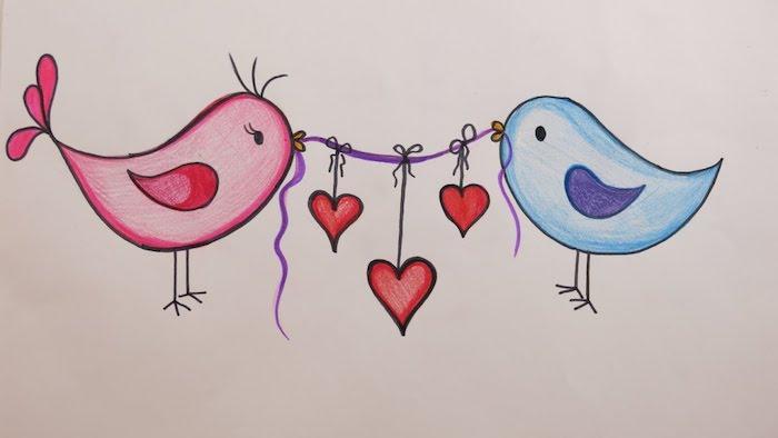 oiseau rose et oiseau bleu qui tiennent les dex bouts d une ficelle violette avec des coeurs rouges suspendus, dessin amoureux