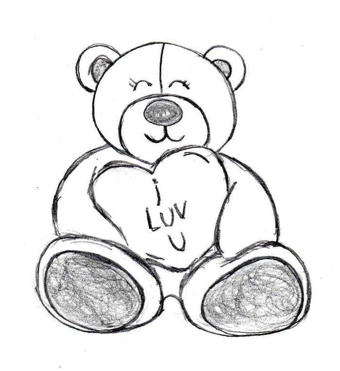 dessin graphique d ourson peluche noir et blanc qui tient un gros coeur avec des pattes graphiques, texte je t aime, image saint valentin