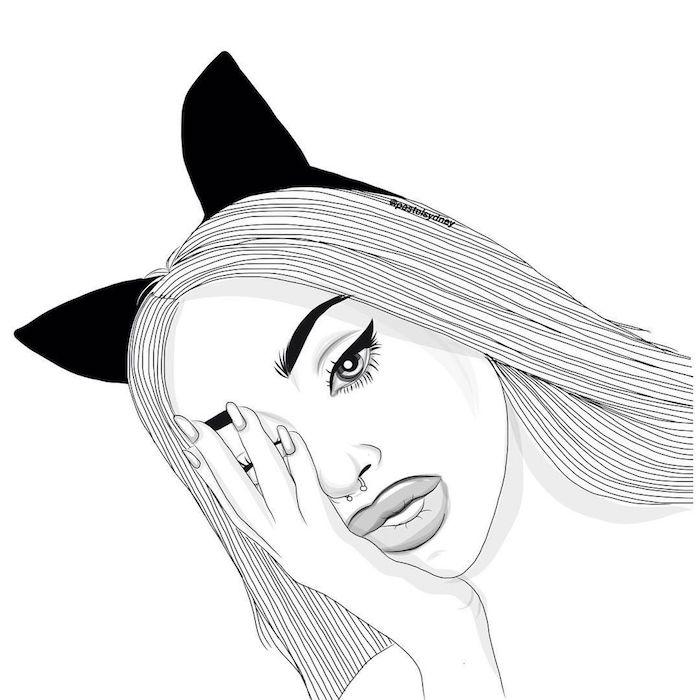 image swag de belle fille tumblr outlines, cheveux lisses et oreilles artificielles, boule sur le nez, jolie femme dessin portrait