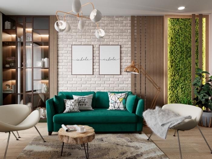 modèle de salon contemporain aux murs à imitation briques blanches, déco salon beige avec meuble de couleur vert foncé ou clair