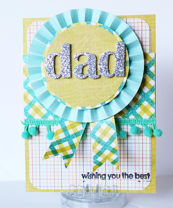 surprise fête des pères à faire soi-même, carte pour la fête des pères, diy carte scrapbooking facile en papier turquoise