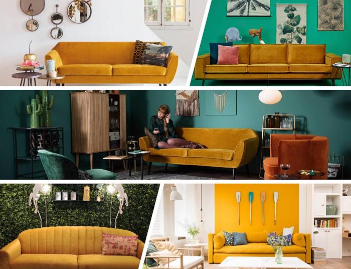 comment intégrer la couleur jaune moutarde dans la déco, exemple salon aux murs vert foncé avec canapé jaune