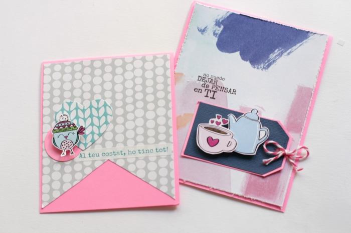 comment décorer une carte scrapbooking, modèle de carte fait main en papier rose avec figurine manchot avec bonnet