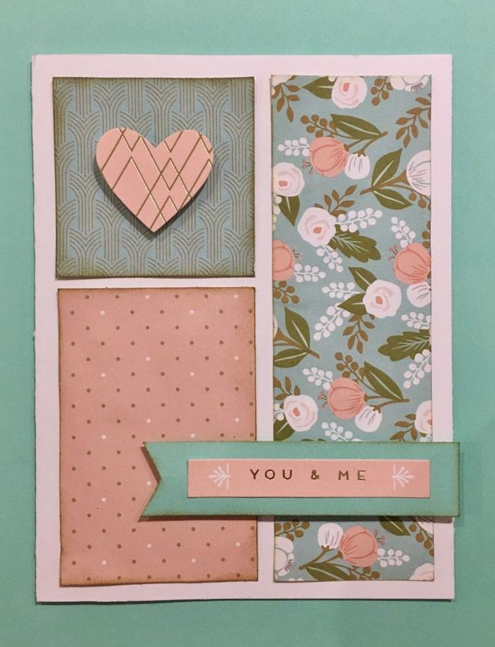 diy carte en papier rose pastel avec coupures de papier scrap à design vintage, modèle carte d'amour fait main
