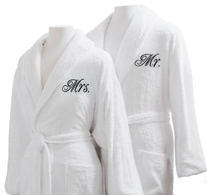kit de peignoirs blancs pour couple, idée cadeau Saint Valentin pour deux, accessoires de bain personnalisé pour couple