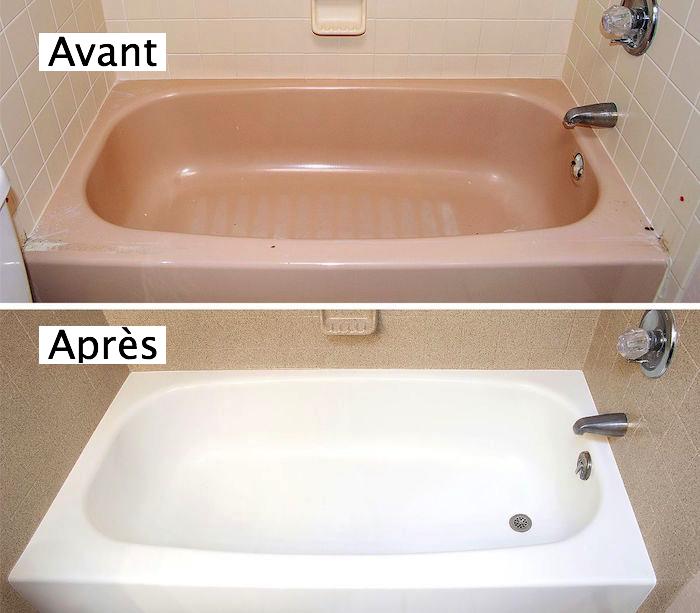 salle de bain rénovée avec nouvelle peinture pour intérieur de baignoire blanche et nouveau carrelage mural