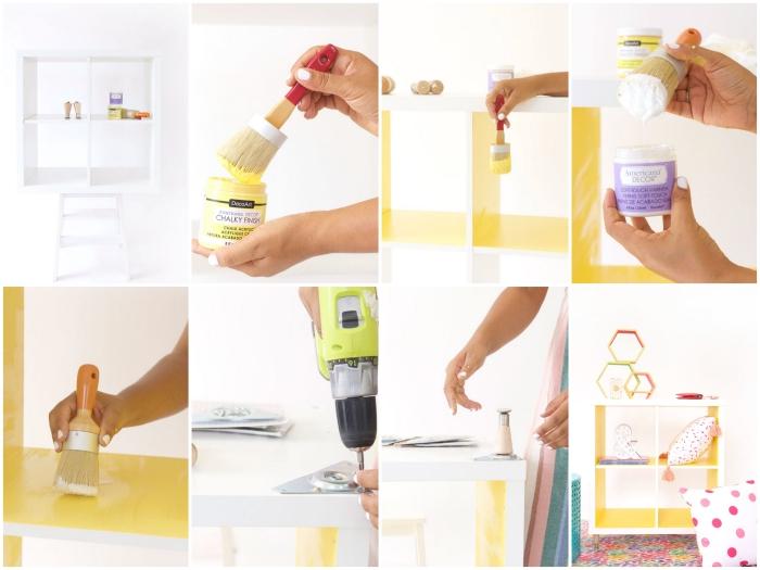 peindre un meuble ikea en jaune, donner un coup de fraîcheur à une étagère kallax
