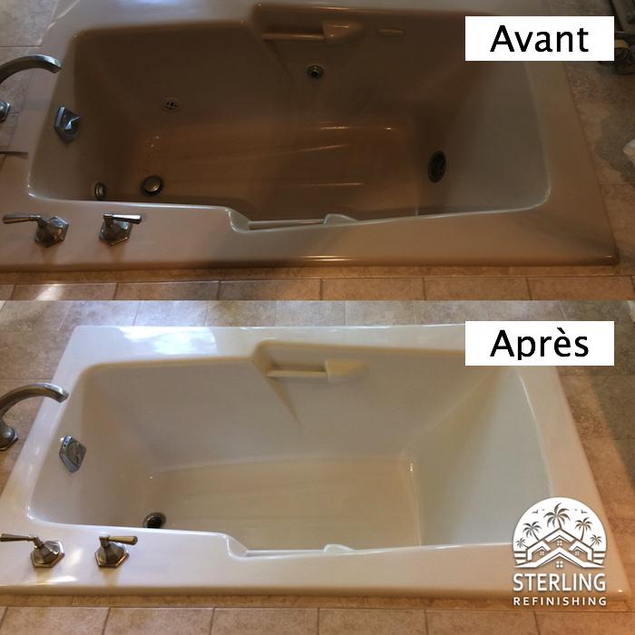 photo exemple de peinture baignoire en plastique marron et blanche avant après