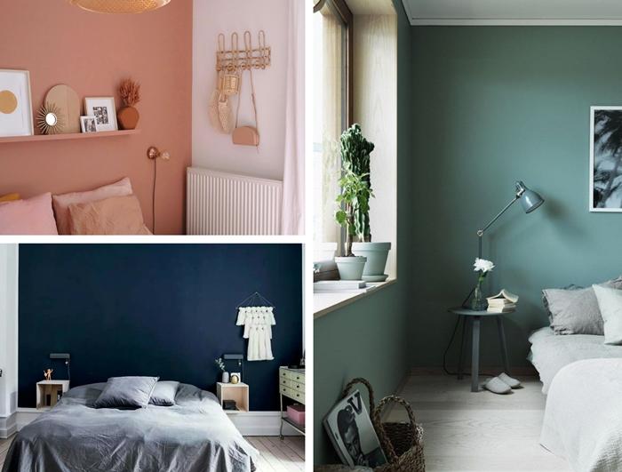 peindre une chambre 2 couleurs peinture tendance 2020 decoration chambre adulte murs terracotta meubles bois peinture chambre 2 couleurs mur