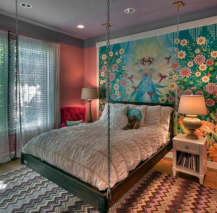 chambre à coucher féminine, lit flottant, grande peinture artistique florale, lampes de chevet, peinture chambre adulte moderne rose et gris