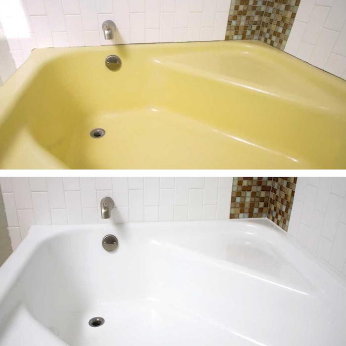 photo d une baignoire vintage de couleur jaune poussin rafraîchie avec une peinture pour baignoire blanche