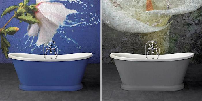modèles de baignoires ilot sur pieds peintes en gris et bleu assortie à la décoration générale de la salle de bain