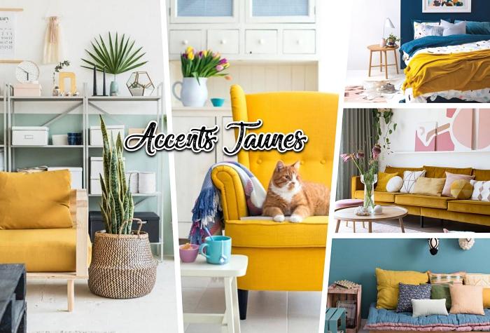 accessoires maison de couleur moutarde, modèle de canapé bois avec siège et dos jaune, déco chambre à coucher aux murs bicolore bleu marine et blanc