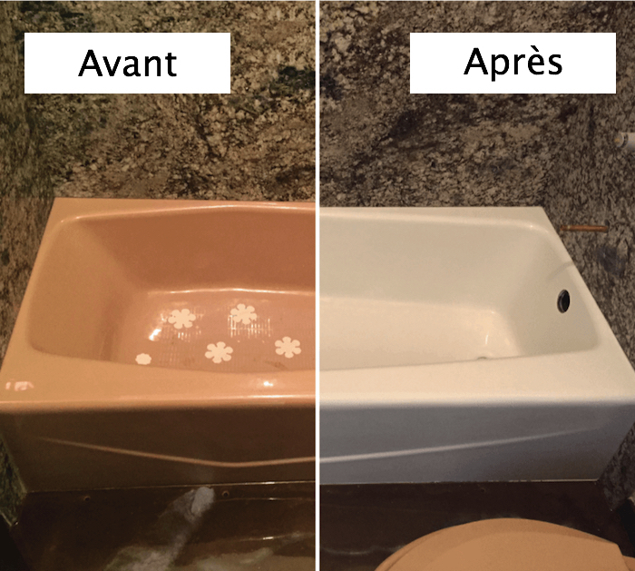 photo de baignoire rétro rose repeinte en blanche avec peinture epoxy et mur type béton