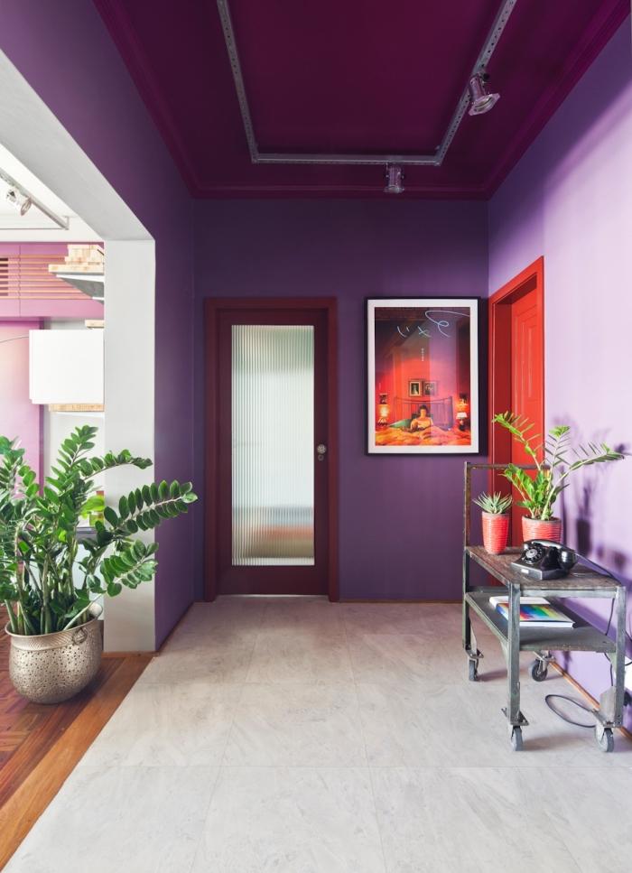 deco couloir élégante aux murs peint en violet et aux accents rouges sur les portes et les encadrement qui donne sur un salon pourpre