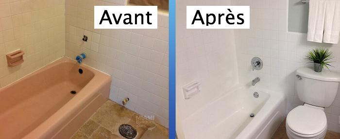 exemple de rénovation de salle de bain avec peinture de baignoire avant après