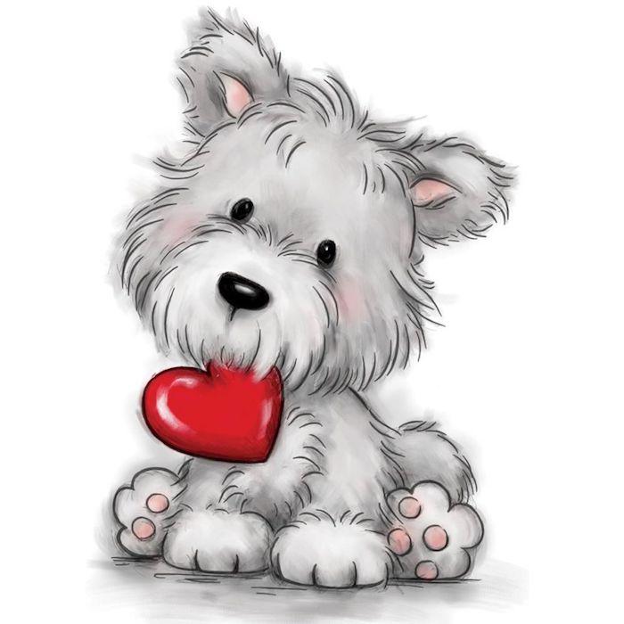 dessin trop mignon d un chien, comment dessine un chien ay crayon qui tient un coeur rouge dans sa bouche