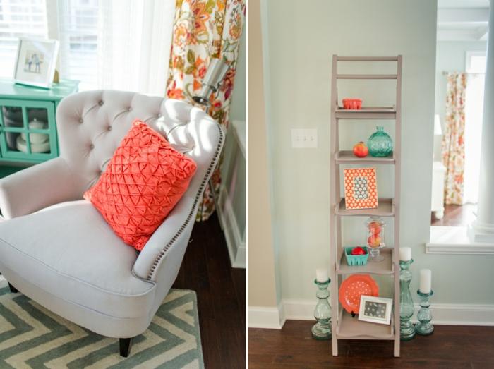 coussin couleur panton 2019, fauteuil gris, tapis zigzags, étagère en bois avec objets oranges et turquoises