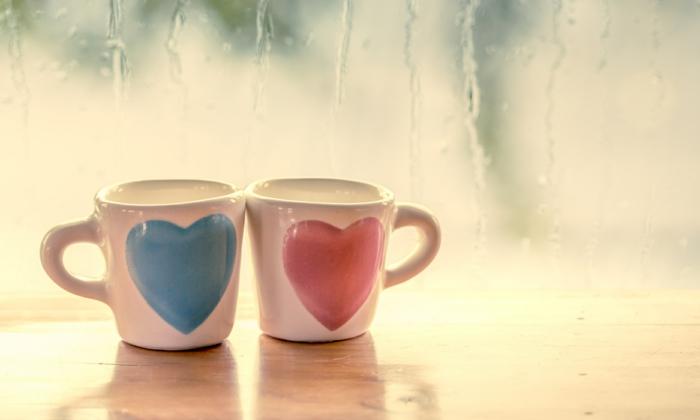 Tasses pour boire son café ensemble, carte st valentin, image romantique photo couple amoureux images pour fond d ecran