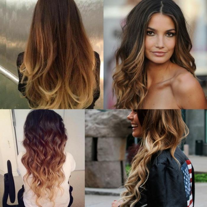 Quatre idées de coupe de cheveux carré, coiffure coiffée décoiffée, cheveux ondulés, le style ombre cheveux