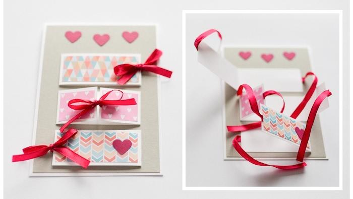carte grise avec multitude de fenêtres papier décorés de rubans rouges et petits coeurs rose en papier