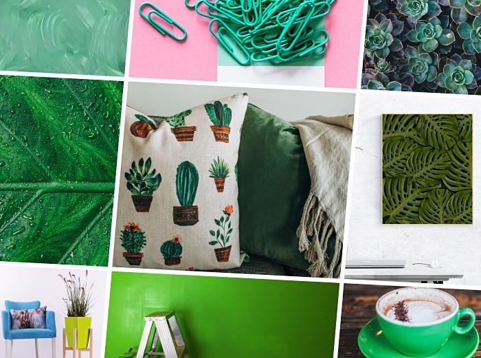 objets de déco de couleur vert, modèle de coussin beige avec cactus à l'aquarelle, pot à fleur de couleur vert anis