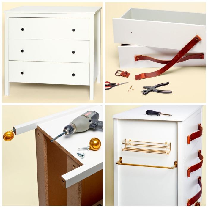 idée de détournement de meuble ikea, une commode hemnes à trois tiroirs transformée en mini-îlot de cuisine mobile avec des poignées en cuir et des barres de rangement