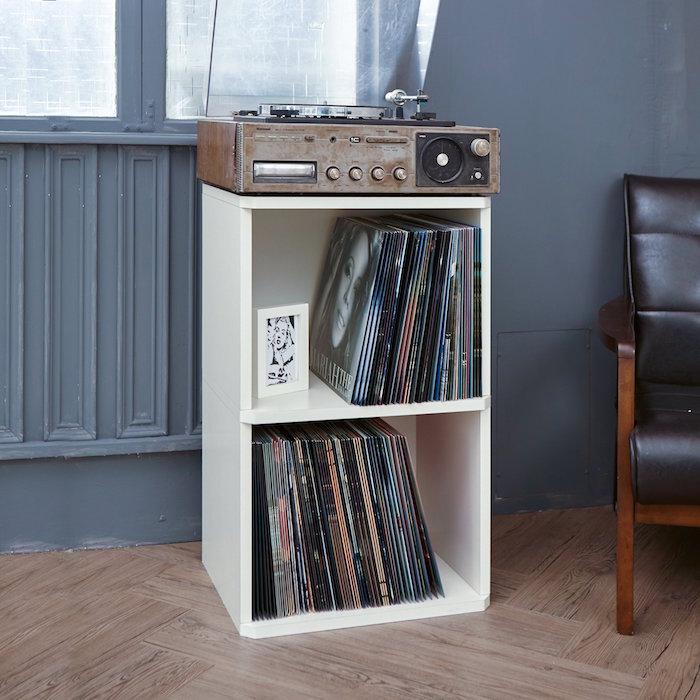 etagere vinyls à double casier blanc type ikea kallax pour ranger vinyles et platine