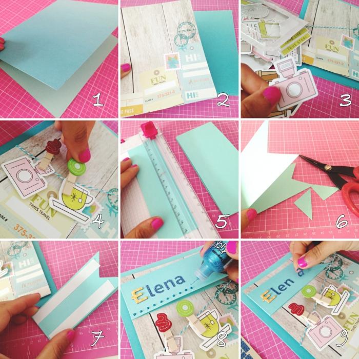 exemple comment fabriquer une carte d'anniversaire, pliage papier coloré pour carte diy, décoration carte fait maison