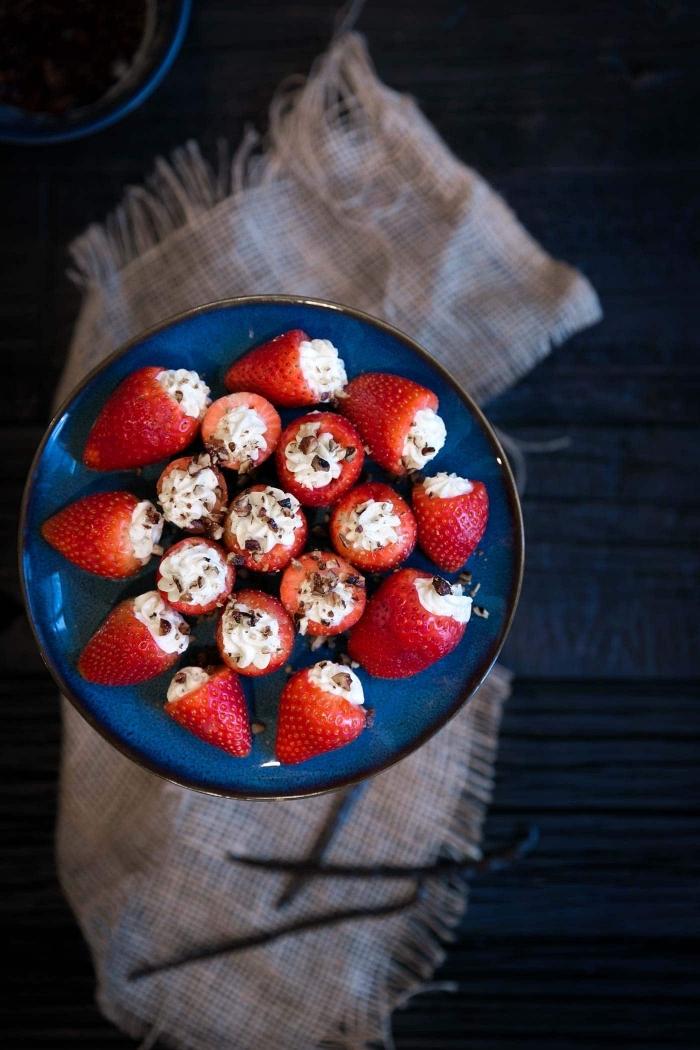 des fraises fourrées de mascarpone recette facile et rapide de bouchées pour un apéro dînatoire estival