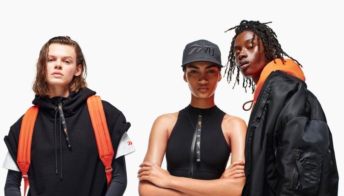 vêtements et accessoires de la collection Victoria Bechkam et Reebok, casquette noire unisexe, survêtement noir oversized