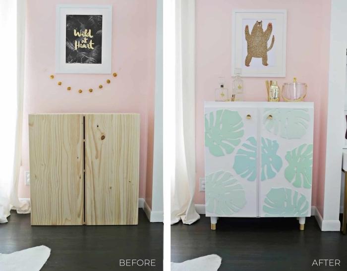 meuble repeint avant après, caisson ivar repeint en blanc avec pieds rajoutés et des motifs feuilles de palmier en relief peints en vert d'eau