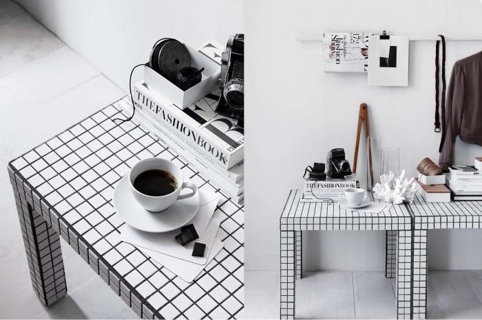 idée de meuble relooké sans peinture, une petite table lack en mosaïque de carreaux noir et blanc qui se fait un accent déco moderne