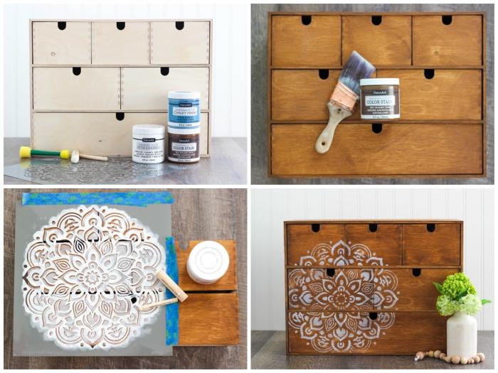 idée pour peindre un meuble ikea et lui donner une nouvelle apparence, mini-commode moppa avec motif mandala peint au pochoir