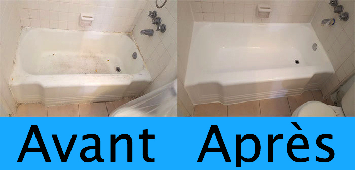 modele de renovation de baignoire après une couche de peinture epoxy blanche