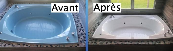 baignoire ronde type jacuzzi bleu avec peinture neuve epoxy blanche avant après