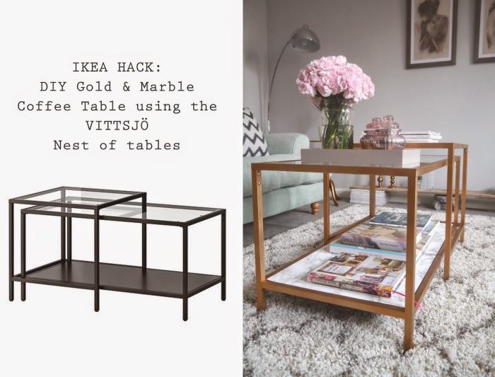 meuble repeint avant après, une table gigogne vittsjö customisée avec de la peinture dorée et de l'adhésig marbre