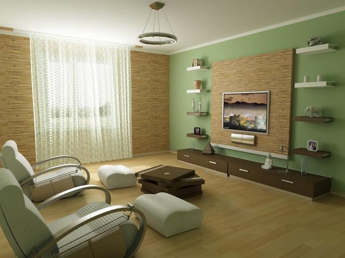 modèle de salon avec murs en bois et mur de peinture vert clair, pièce avec mur de couleur vert et parquet bois clair