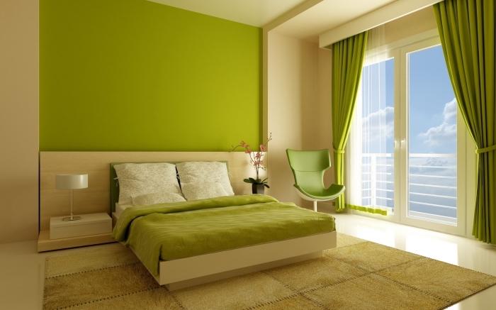 exemple de chambre à coucher beige et vert, idée peinture chambre adulte de couleur verte anis, modèle grand lit chambre parentale