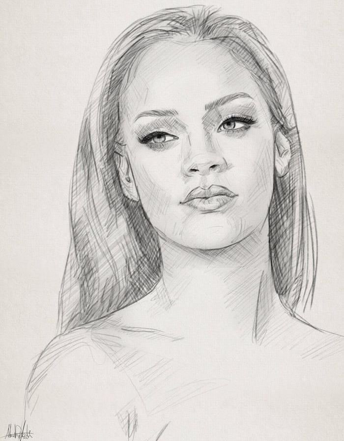 rihanna portrait noir et blanc graphique, cheveux lisses traits de visage dessin, meuf swag che d oeuvre